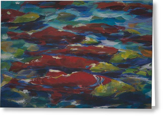 Sockeye Paintings Greeting Cards - Adams River Salmon Run Greeting Card by Val Philbrook