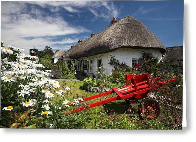 Thatch Greeting Cards - Adare thatch roof cottages Ireland Greeting Card by Pierre Leclerc Photography