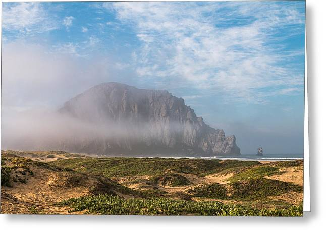 California Ocean Photography Greeting Cards - Morning Mist at Morro Bay Rock Greeting Card by Patti Deters