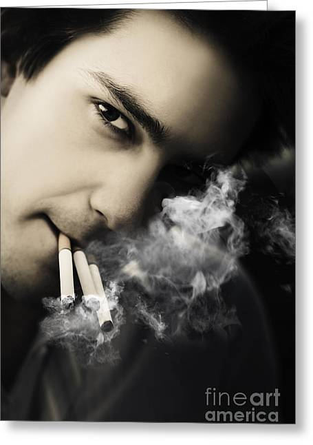 Smoker Greeting Cards - Addiction And Dependency From Chronic Work Stress Greeting Card by Ryan Jorgensen