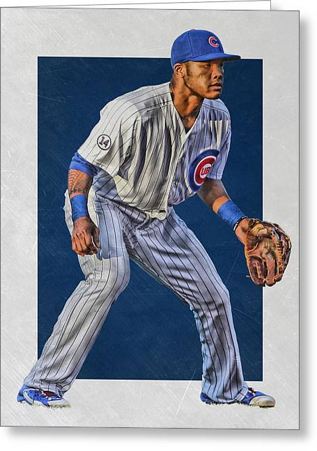 Addison Russell Chicago Cubs Art 2 Greeting Card by Joe Hamilton