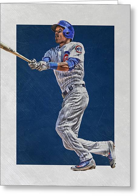 Addison Russell Chicago Cubs Art Greeting Card by Joe Hamilton
