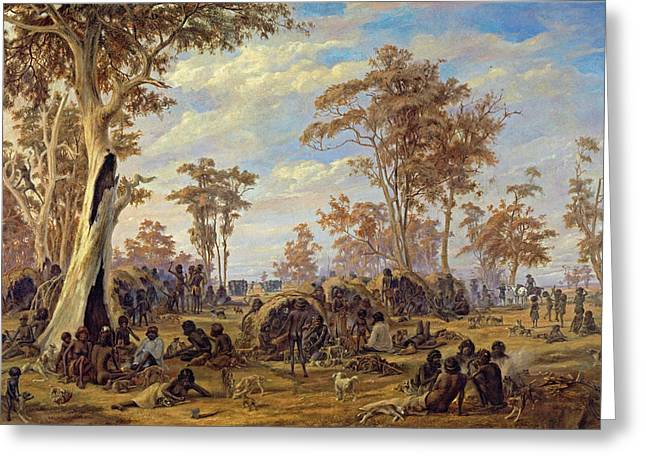 Adelaide, A Tribe Of Natives On The Banks Of The River Torrens Greeting Card by Alexander Schramm