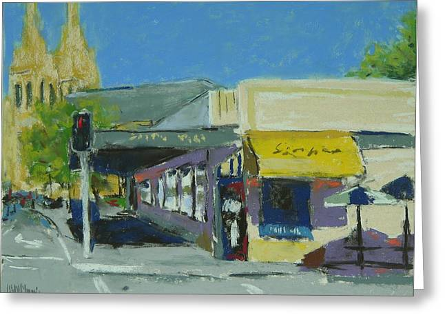 Urban Buildings Pastels Greeting Cards - Adelaide Near St. Peters Greeting Card by Mary McInnis