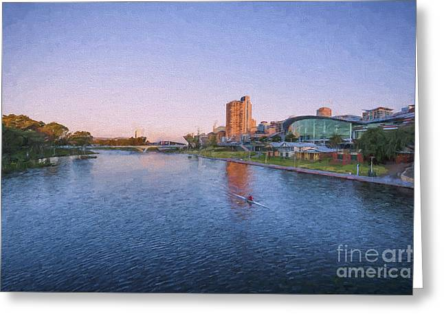 Adelaide Riverbank At Sunset    Ed Greeting Card by Ray Warren