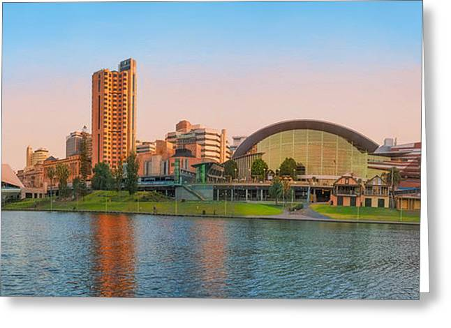 Adelaide Riverbank Panorama Greeting Card by Ray Warren