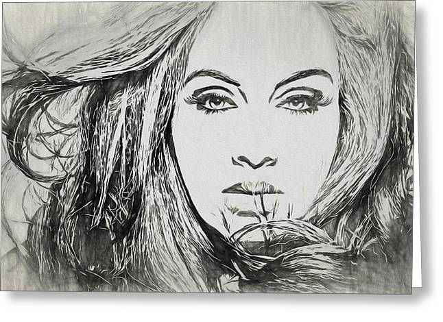 Adele Charcoal Sketch Greeting Card by Dan Sproul