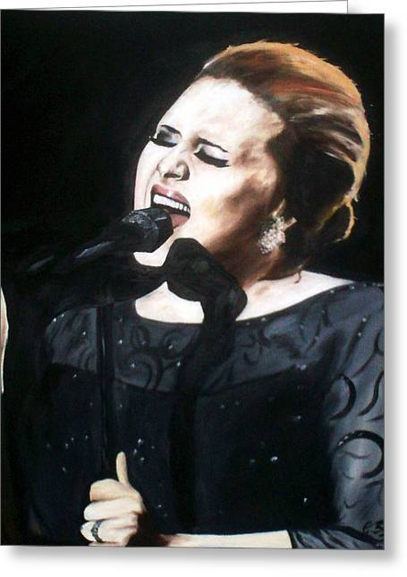 Adele Paintings Greeting Cards - Adele Greeting Card by Gary Boyle