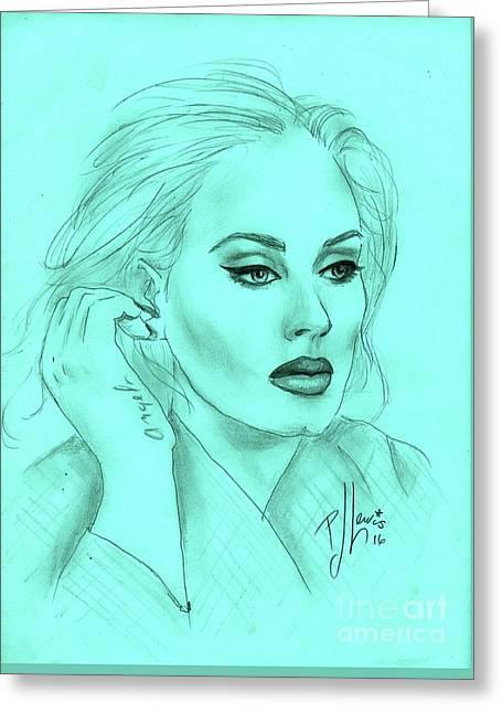Adele Greeting Card by P J Lewis