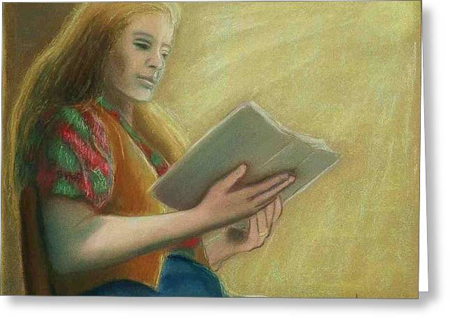 Sitting Pastels Greeting Cards - Adele Reading Greeting Card by Helen O Hara