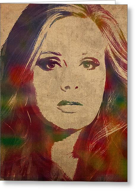 Adele Watercolor Portrait Greeting Card by Design Turnpike