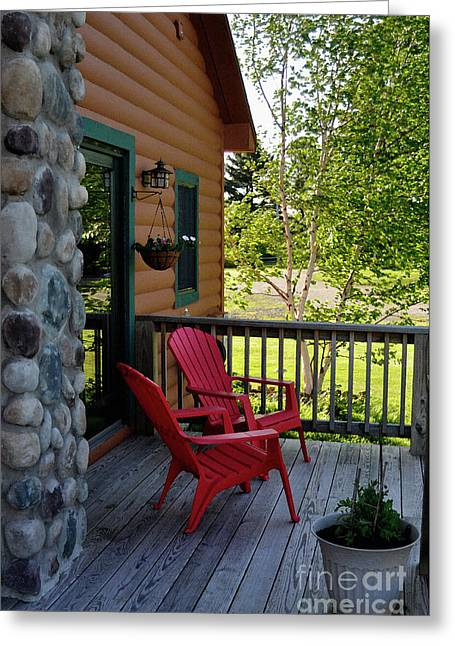 Stone Chimney Greeting Cards - Adirondack Bliss Greeting Card by Diane E Berry