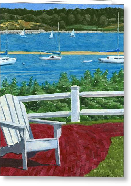 Adirondack Chair On Cape Cod Greeting Card by Dominic White