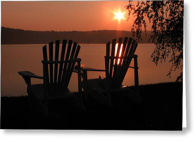 Michael Mooney Greeting Cards - Adirondack Chairs-1 Greeting Card by Michael Mooney