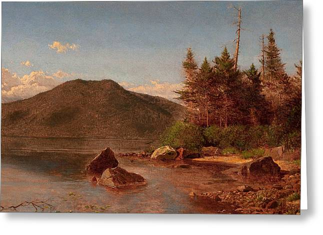 Adirondack Lake Greeting Card by Alexander Helwig Wyant