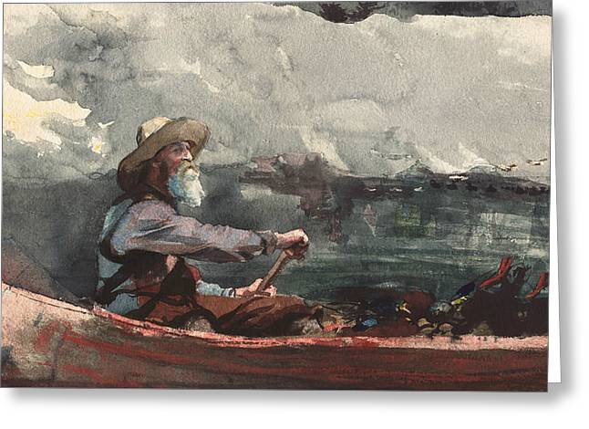 Adirondacks Guide Greeting Card by Winslow Homer