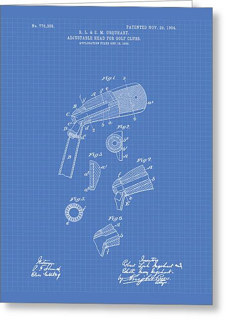 Technical Digital Art Greeting Cards - Adjustable Head For Golf Clubs 1904 Patent Art - Blueprint Greeting Card by Ray Tawer