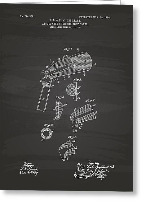 Bedroom Art Greeting Cards - Adjustable Head For Golf Clubs 1904 Patent Art - Chalkboard Greeting Card by Ray Tawer