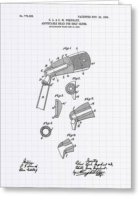 Technical Digital Art Greeting Cards - Adjustable Head For Golf Clubs 1904 Patent Art - Lined Peper Greeting Card by Ray Tawer