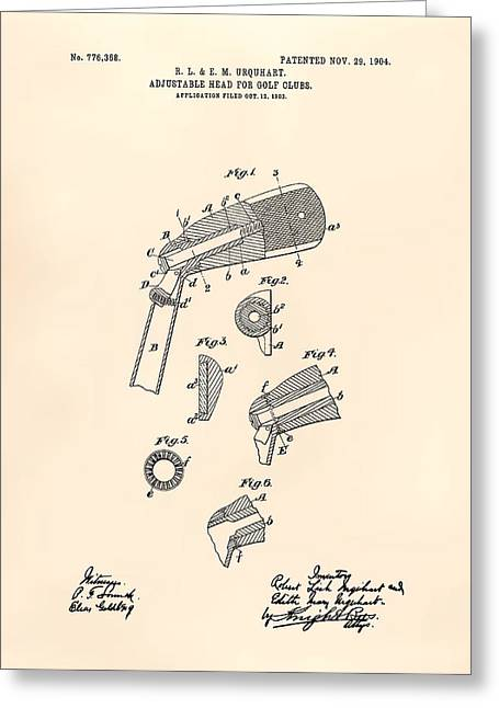 Technical Digital Art Greeting Cards - Adjustable Head For Golf Clubs 1904 Patent Art - Old Peper Greeting Card by Ray Tawer