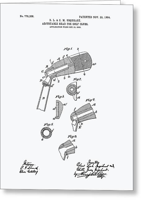 Technical Digital Art Greeting Cards - Adjustable Head For Golf Clubs 1904 Patent Art - White Paper Greeting Card by Ray Tawer