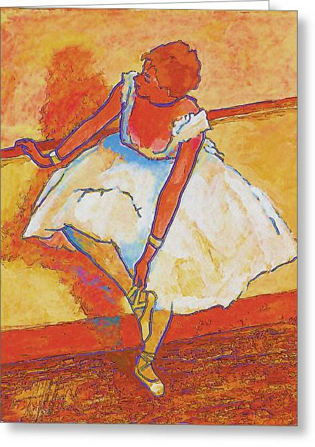 Ballet Bar Greeting Cards - Adjusting Her Slipper Greeting Card by Robert Bissett