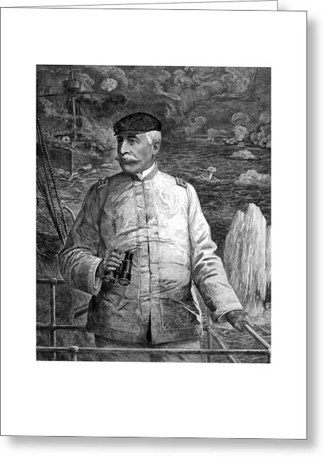 Battleships Greeting Cards - Admiral Dewey At Sea Greeting Card by War Is Hell Store