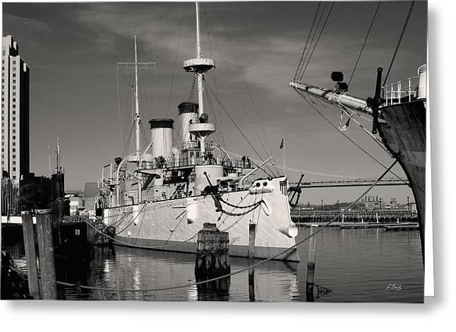 U.s. Steel Greeting Cards - Admiral Deweys Flagship Monochrome Greeting Card by Gordon Beck