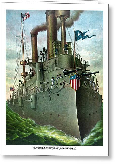Navy Greeting Cards - Admiral Deweys Flagship Olympia  Greeting Card by War Is Hell Store