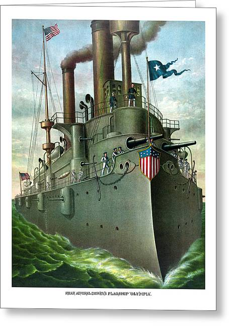 Historic Ship Greeting Cards - Admiral Deweys Flagship Olympia  Greeting Card by War Is Hell Store