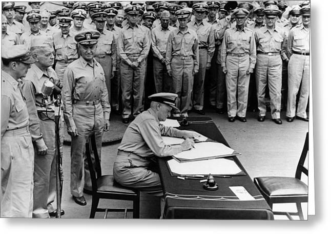 Admiral Nimitz Signing The Japanese Surrender  Greeting Card by War Is Hell Store