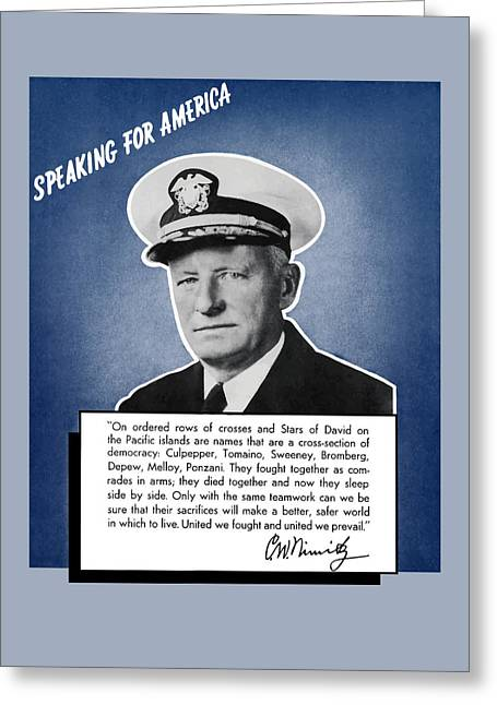 Admiral Nimitz Speaking For America Greeting Card by War Is Hell Store