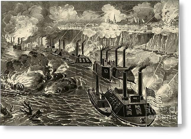 Admiral Porter's Fleet Running The Rebel Blockade Of The Mississippi At Vicksburg Greeting Card by American School