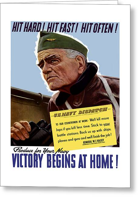 Bulls Mixed Media Greeting Cards - Admiral William Bull Halsey -- WW2 Propaganda  Greeting Card by War Is Hell Store