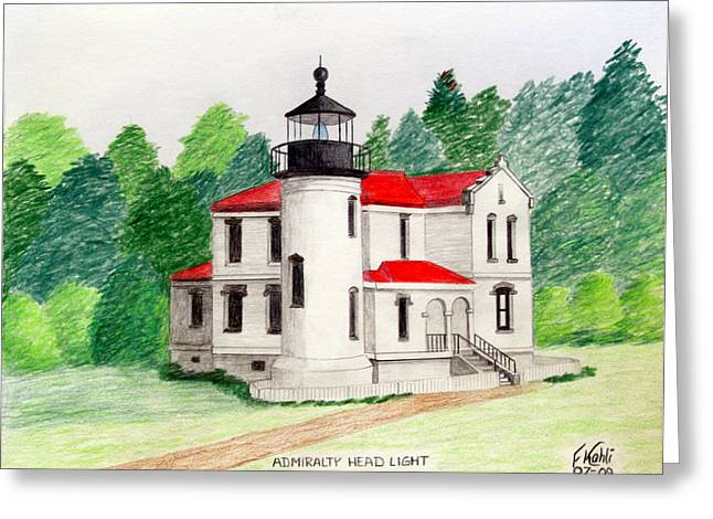 Historic Buildings Images Drawings Greeting Cards - Admiralty head Light Greeting Card by Frederic Kohli