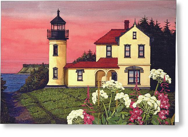 Fort Casey Greeting Cards - Admiralty Head Lighthouse  Greeting Card by James Lyman