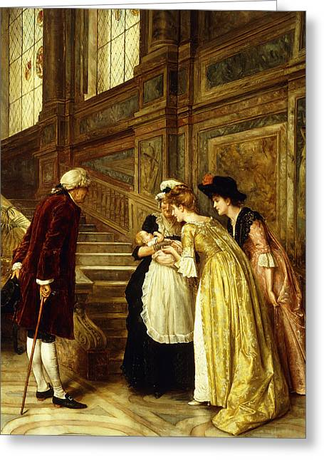 Admiring The Baby Greeting Card by George Goodwin Kilburne