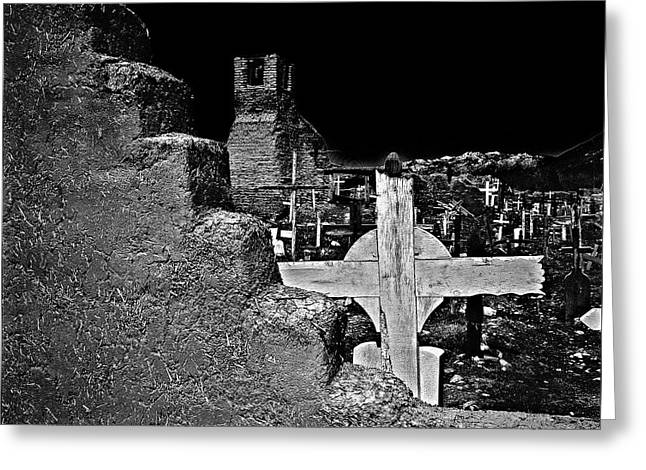 Adobe And The Cross Greeting Card by Dennis Sullivan
