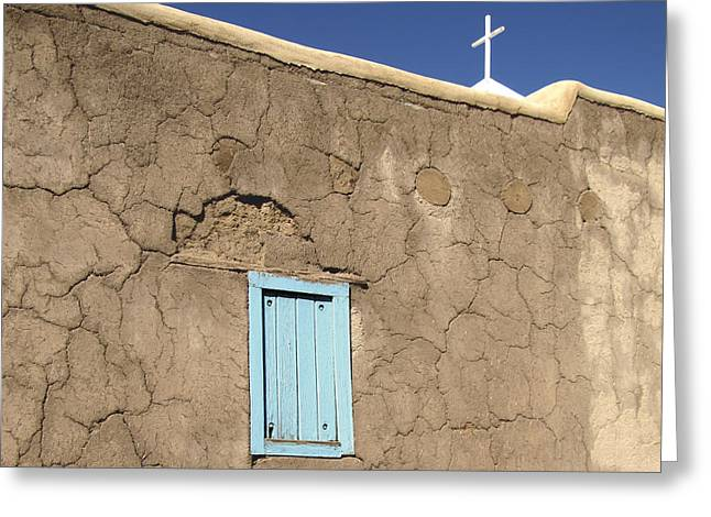 Christian Crosses Greeting Cards - Adobe Church Taos Greeting Card by Ann Powell