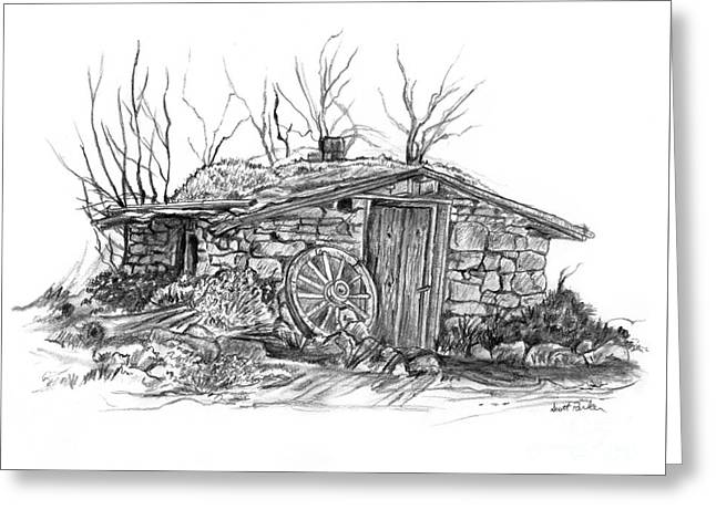 Adobe Drawings Greeting Cards - Adobe House Greeting Card by Scott Parker