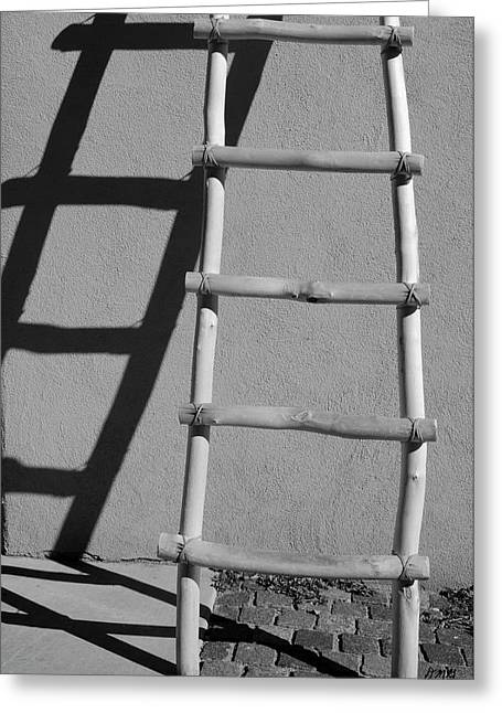 Taos Greeting Cards - Adobe Ladder and Shadow Taos NM Greeting Card by David Gordon