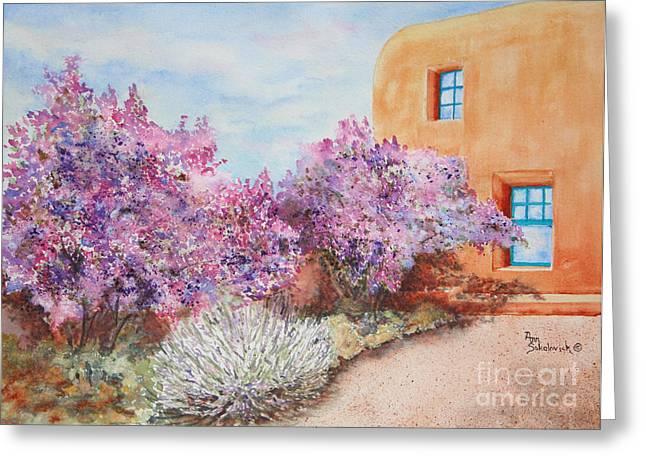 Sokolovich Paintings Greeting Cards - Adobe Lilacs Greeting Card by Ann Sokolovich