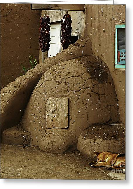Adobe Oven Greeting Card by Angela Wright