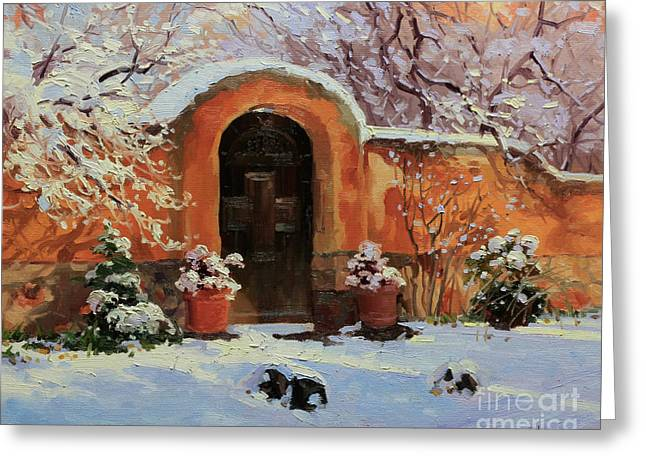 Wooden Building Paintings Greeting Cards - Adobe wall with wooden door in snow. Greeting Card by Gary Kim