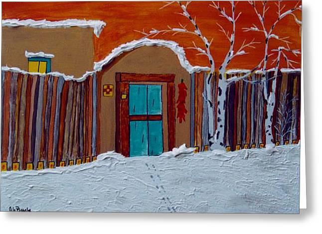 """storm Prints"" Paintings Greeting Cards - Adobe Winter Santa Fe NM Greeting Card by Joseph Frank Baraba"