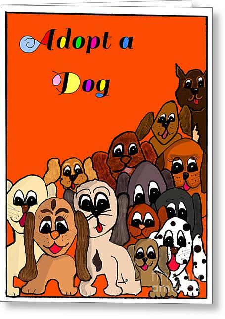 Adopt A Dog  Greeting Card by Debbie Davidsohn