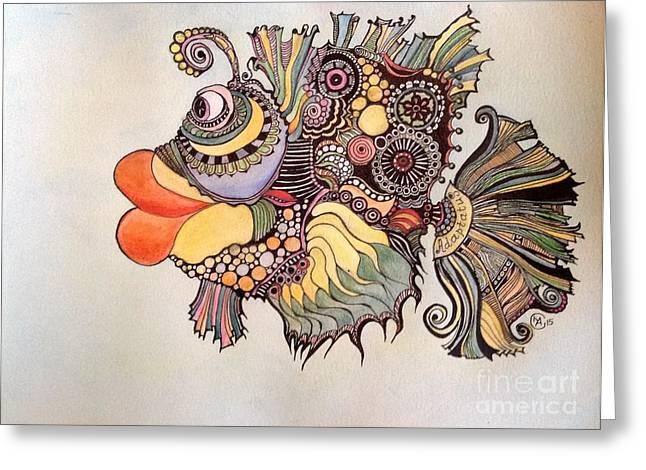 Ink Drawing Greeting Cards - Adaptatus The Fish Greeting Card by Iya Carson
