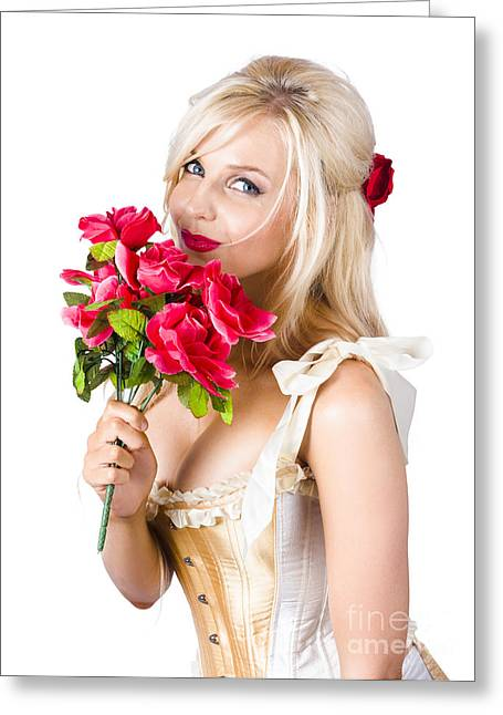 Youthful Greeting Cards - Adorable florist woman smelling red flowers Greeting Card by Ryan Jorgensen