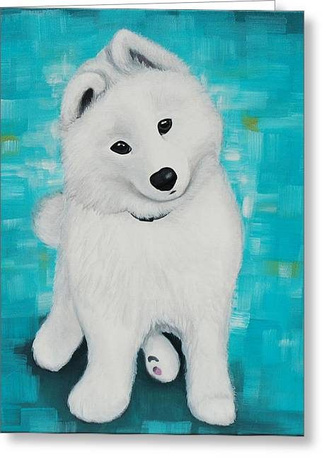 Puppies Paintings Greeting Cards - Adorable Samoyed Puppy Greeting Card by Lauren Hammack