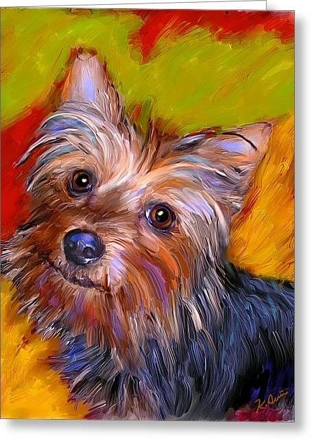 Adorable Yorkie Greeting Card by Karen Derrico